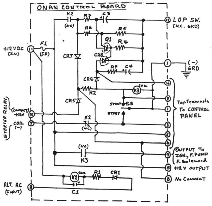 onan control board operation circuit board schematic diagram large view