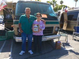 Dave and Arlene Cantrell were awarded a trophy for their beautiful GMC.